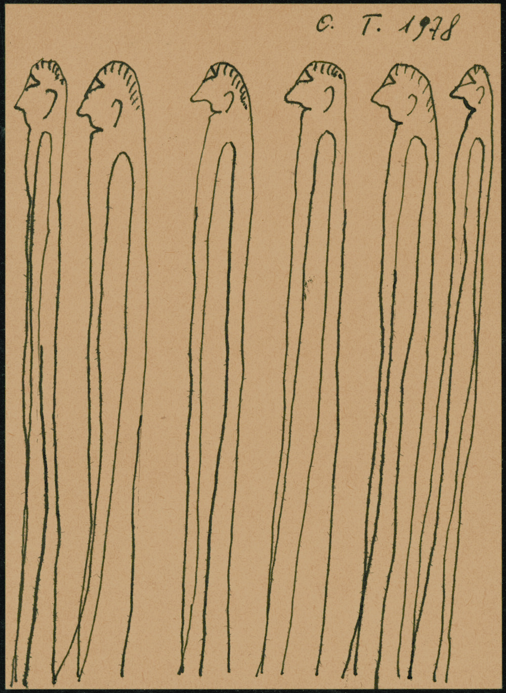 Oswald Tschirtner (Austrian, 1920-2007).  Six standing figures facing left , 1978. Ink on paper, 5 ¾ x 4 1/8 in. Intuit: The Center of Intuitive and Outsider Art, gift of John M. MacGregor in honor of Robert A. Roth, 2004.7.5