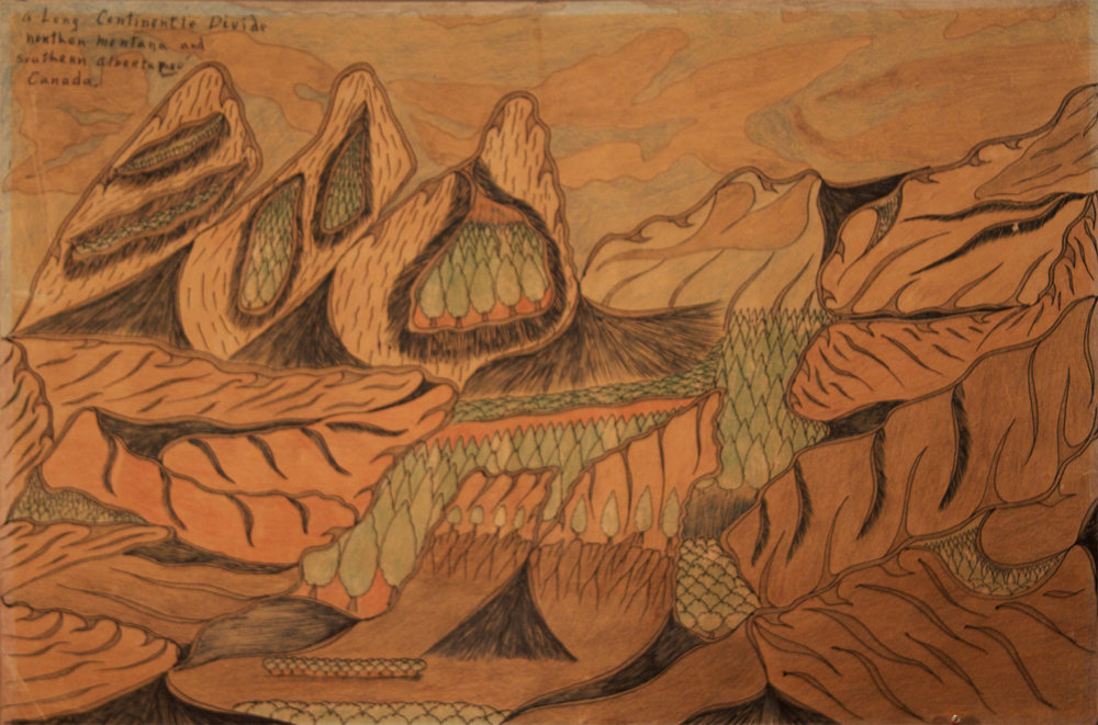Joseph E. Yoakum (American, 1886-1972).  A Long Continentle Divide , n.d. Colored pencil on paper, 11.875 X 17.875 in. Intuit: The Center for Intuitive and Outsider Art, gift of Martha Griffin, 2014.5.3