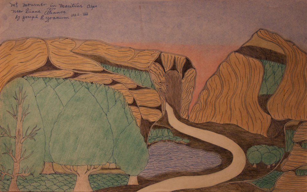 Joseph E. Yoakum (American, 1886-1972).  Mt. Mourner in Maritine Alps , January 2, 1968. Colored pencil on paper, 11.875 X 19 in. Intuit: The Center of Intuitive and Outsider Art, gift of Martha Griffin, 2014.5.1