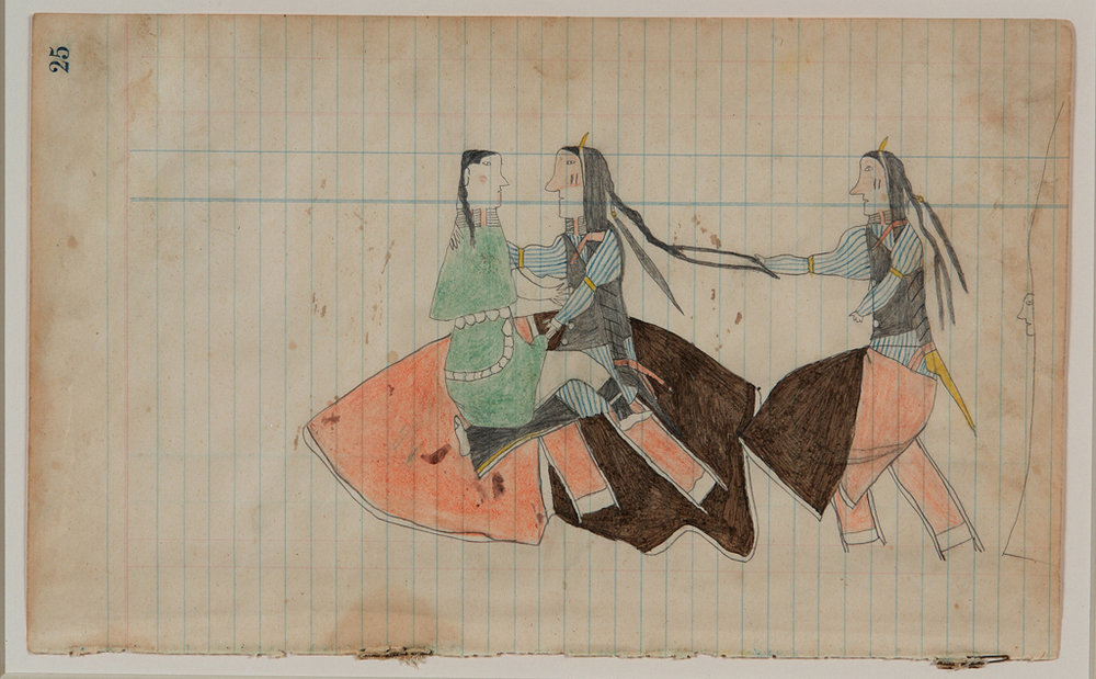 Anonymous (American).  Untitled (Courting scene) , ca. 1880-1890. Color pencil and graphite on ledger paper, 7 ¼ x 11 ¾ in. Intuit: The Center of Intuitive and Outsider Art, gift of Thomas Isenberg, 2006.24.1