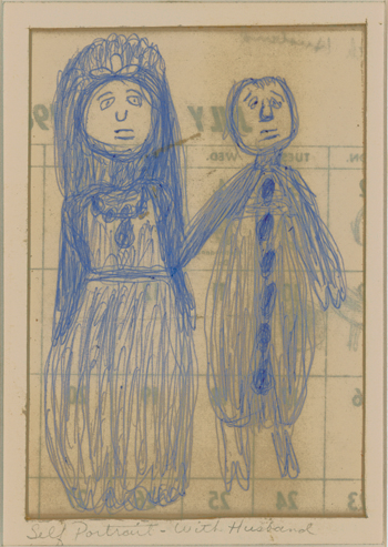 Betty Zakoian (American, 1908-1978),  Self-Portrait with Husband , n.d. Ink on paper, 4 ¾ x 3 ¼ in. Intuit: The Center for Intuitive and Outsider Art, gift of the Zakoian Family, 2007.5.39a
