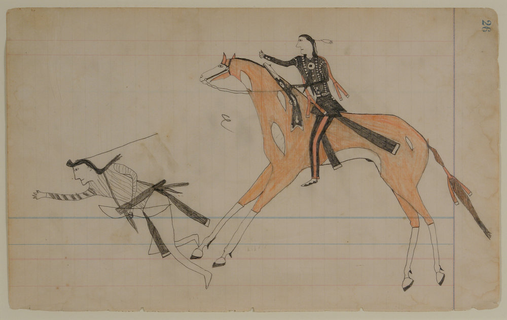 Anonymous (American).  Counting Coup from His Pinto, Edwards Ledger Drawing , ca. 1890s. Graphite and colored pencil on paper, 7 ½ x 12 in. Intuit: The Center of Intuitive and Outsider Art, gift of Thomas Isenberg, 2007.13