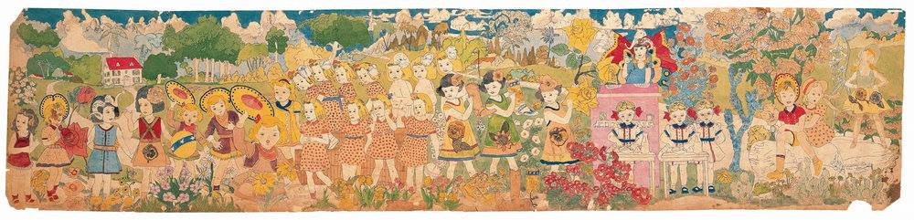 Henry Darger (American, 1892-1973). Untitled, mid-twentieth century. Watercolor, pencil, carbon tracing, and collage on pierced paper, 24 x 106 ½ in. Collection American Folk Art Museum, New York, museum purchase with funds generously provided by John and Margaret Robson, 2004.1.3B, Photo Credit: James Prinz ©American Folk Art Museum / Art Resource NY ©2017 Kiyoko Lerner / Artists Rights Society (ARS), New York