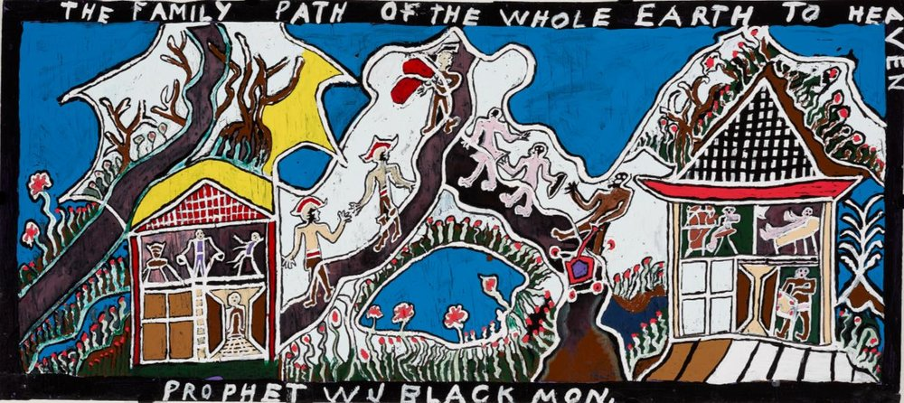 Prophet William J. Blackmon (American, 1921-2010).  The Family Path of the Whole Earth to Heaven , n.d.  Latex and enamel paint on plywood. Milwaukee Art Museum, Gift of the artist. M1988.179