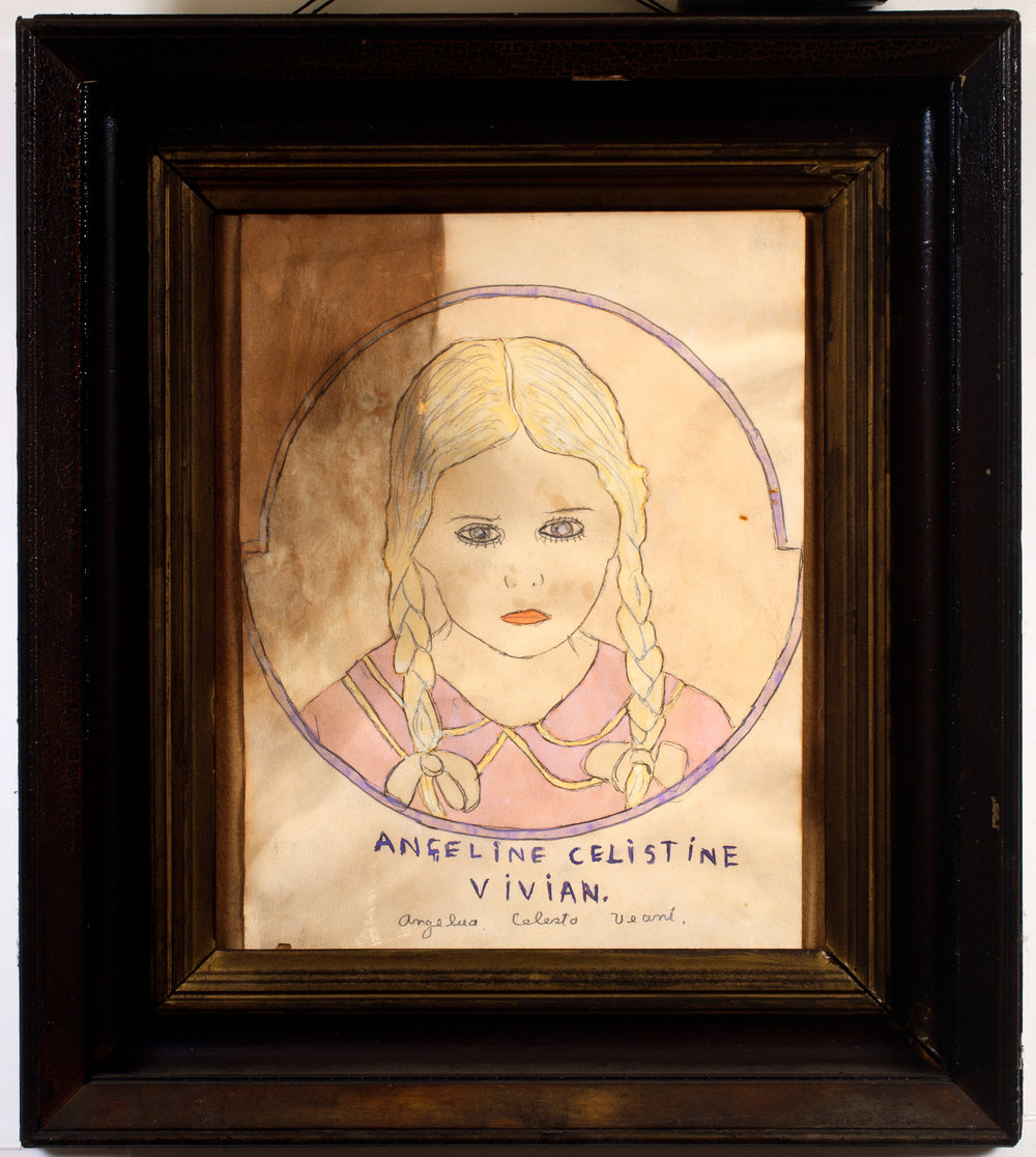Henry Darger (American, 1892-1973). Angeline Celistine Vivian, ca. 1940s. Mixed media on paper, 17 ¼ x 15 ¼ in. (framed). Photo by John Faier. Collection of Robert A. Roth