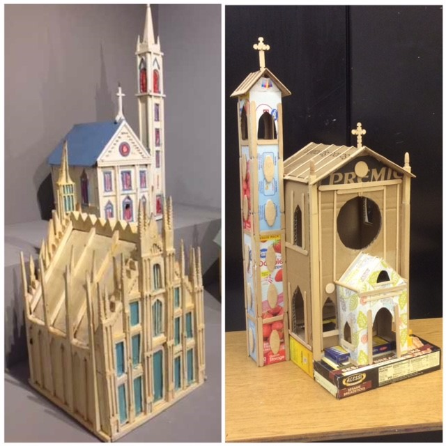 Left: Cathedral birdhouse artwork by Aldo Piacenza, seen in Intuit's Chicago Calling: Art Against the Flow exhibit Right: Cardoard Cathedral inspired by Aldo Piacenza's work