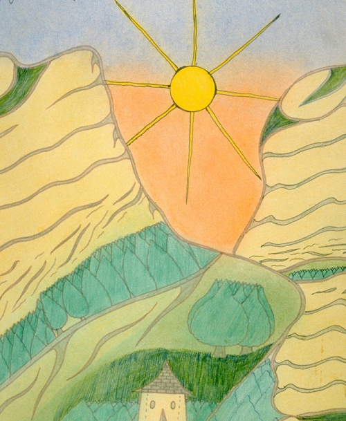 Joseph Yoakum (American, 1886-1972).  The Mounds of Pleasure/on JA Brimms Farm Near Walnut Grove...  (detail), 1970. Ink and pastel on paper, 15 3/8 x 11 3/4 in. Richard and Ellen Sandor Family Collection