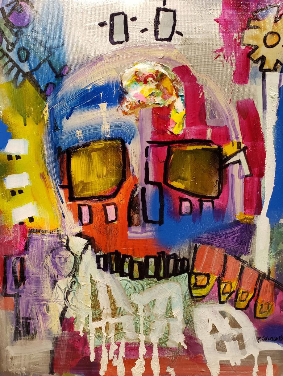 Robert Johnson.  Daisy  (detail), 2018. Spray paint and acrylic on canvas. Courtesy of the artist