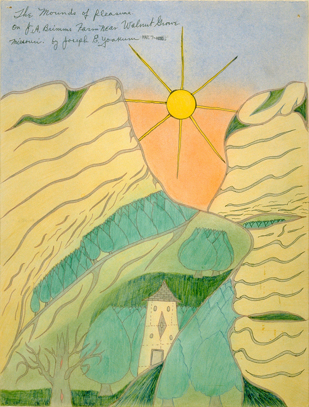 Joseph Yoakum (American, 1886-1972).  The Mounds of Pleasure/on JA Brimms Farm Near Walnut Grove... , 1970. Ink and pastel on paper, 15 3/8 x 11 3/4 in. Richard and Ellen Sandor Family Collection