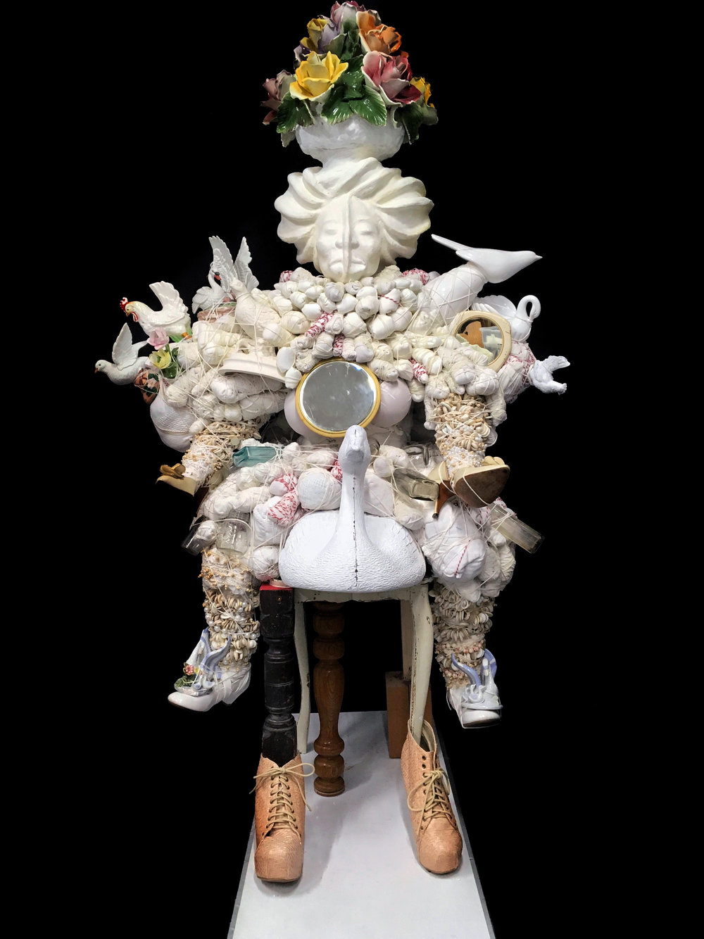 Vanessa German (American, b. 1976).  A Love Poem to Nia Wilson #2 , 2018. Mixed media assemblage, 66 x 36 x 40 in. Courtesy Carl Hammer Gallery, Chicago