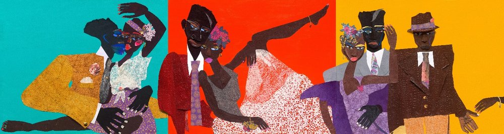 Judy Bowman (American, b. 1952).  The Lovers , 2018. Mixed media, 48 x 180 in. Private Collection