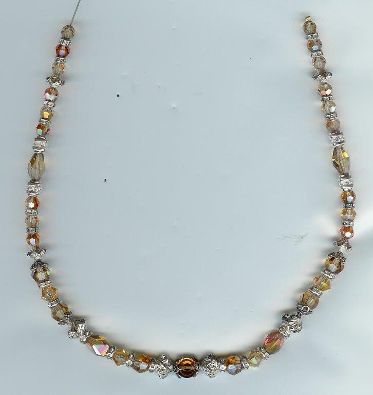 Swarovski Topaz, Copper & Fancy Sterlinmg Necklace