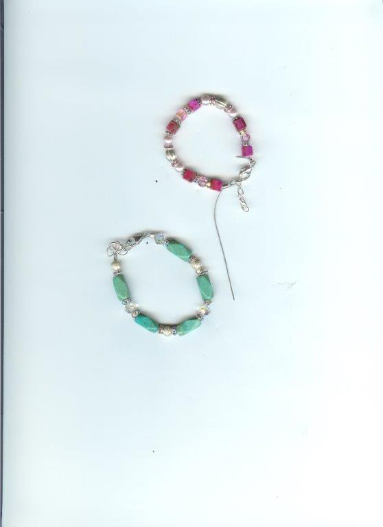 Seabreeze & Pink Crazy Bracelets (match Browbands)