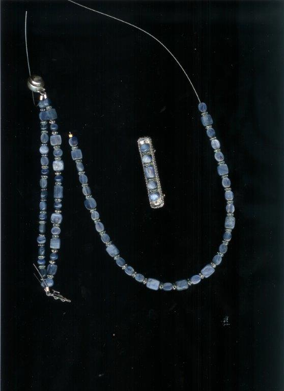 Kyanite Set (Necklace, Bracelet & Stock Pin)