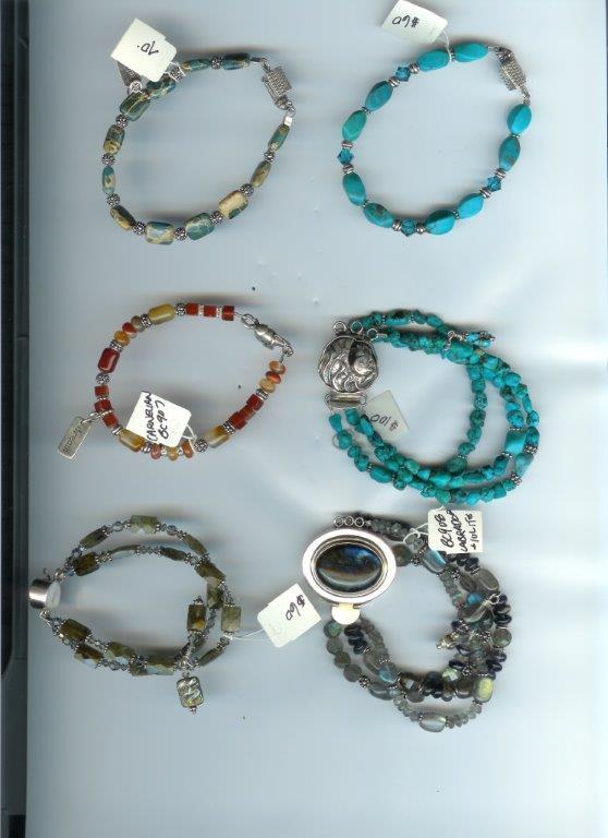 Asst Labradorite, Turquoise, Carnelian, Expression Stone Bracelets