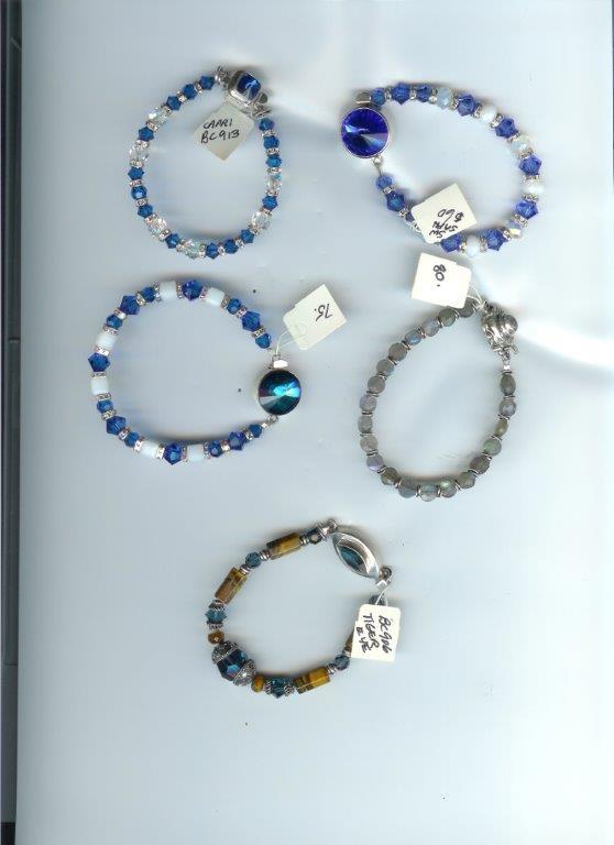Asst Bracelets:  Tiger Eye, Labradorite, Swarovski