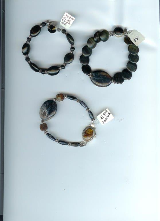 Asst Bracelets:  Pietersite, Hawk's Eye, Blue Tiger Eye