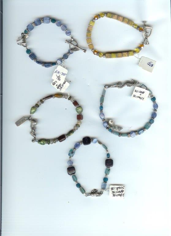 Asst Bracelets:  Kyanite, Apatite, Rhyolite, Yellow Turquoise