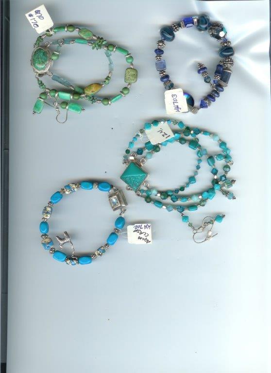 Asst Bracelets:  Jade, Turquoise, Boro Lampwork, Kyanite