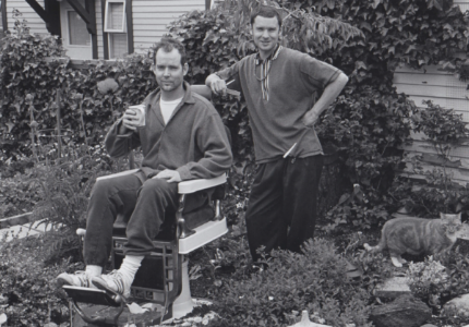 Generation X author and artist Douglas Coupland having a backyard haircut