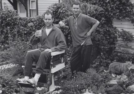 Generation X author and artist Douglas Coupland having a backyard haircut