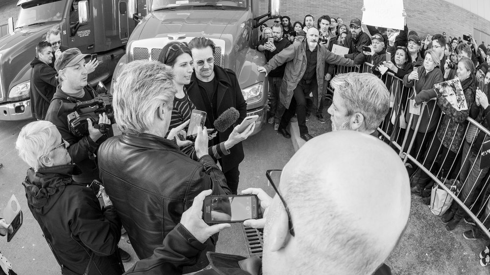 Post-interview with Bono for Dream Out Loud April 21, 2018 in Laval, QC. Photo Credit: Martin Alarie