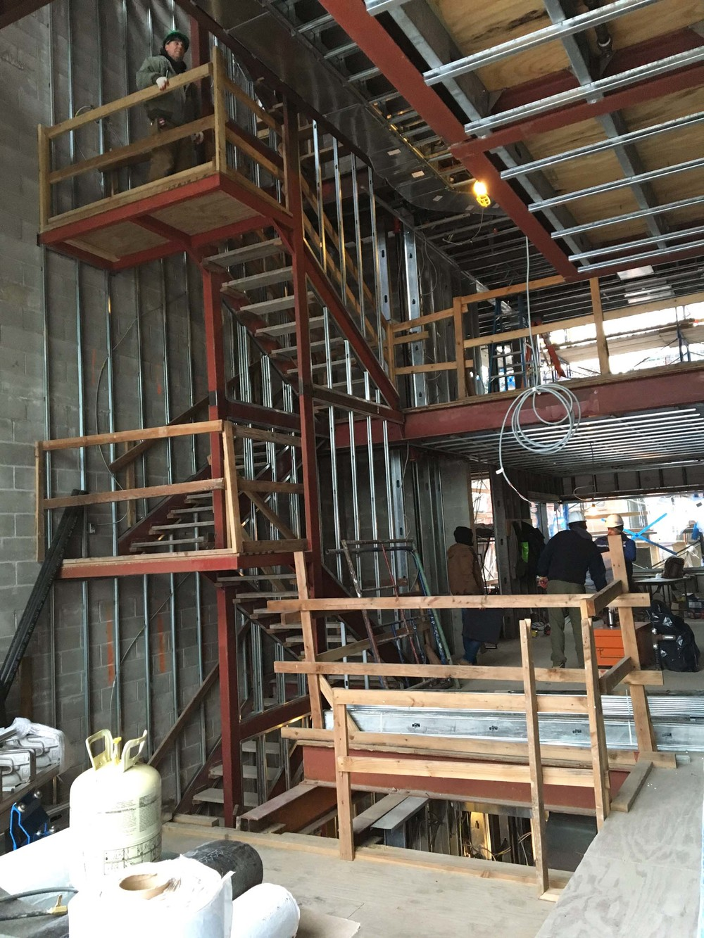 View of the steel framing in the staircase
