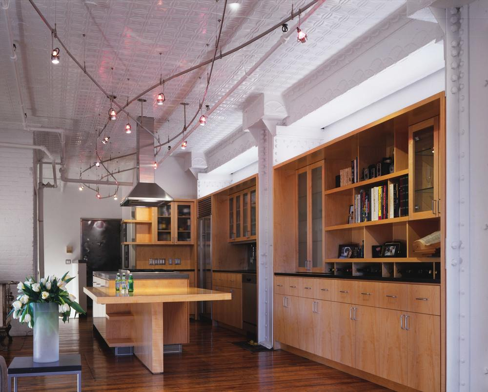 Modern Loft Apartment Renovation | Tribeca Manhattan New York City | Kitchen Island Built In Custom Millwork Cabinets | RES4