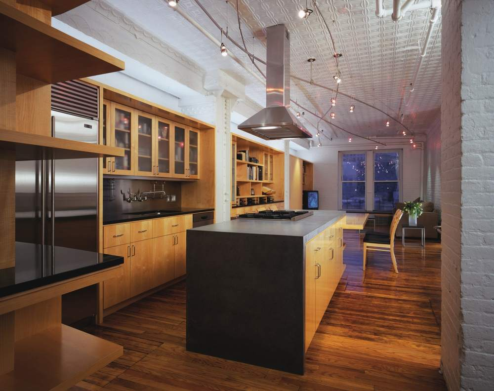 Modern Loft Apartment Renovation | Tribeca Manhattan New York City | Kitchen Island Painted Brick Built In Custom Millwork Cabinets | RES4