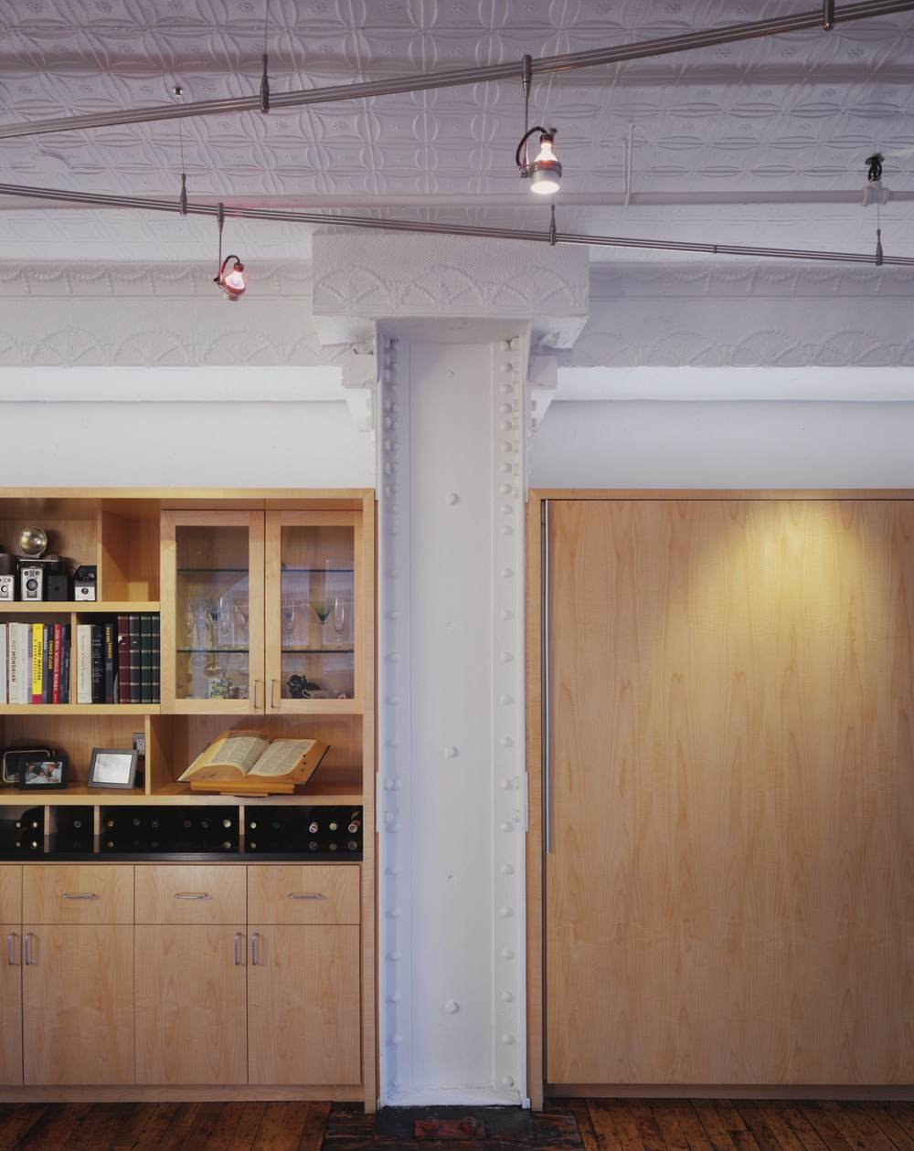 Modern Loft Apartment Renovation | Tribeca Manhattan New York City | Kitchen Exposed Steel Columns Built In Custom Millwork Cabinets | RES4