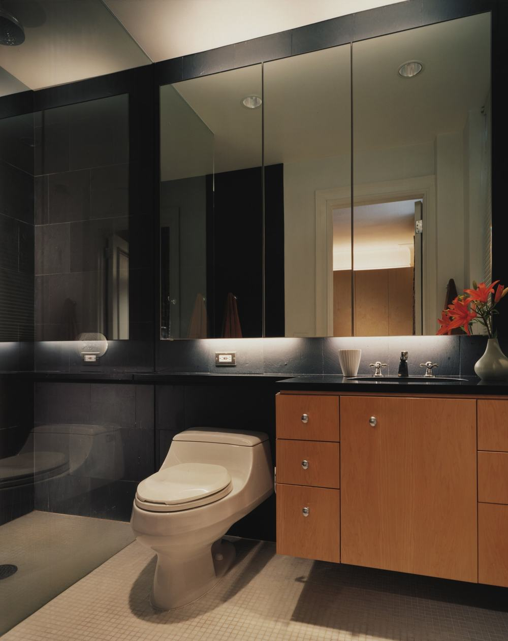 Modern Apartment Renovation | Upper East Side Manhattan New York City | Bathroom Custom Vanity Cabinet Black Tile | RES4