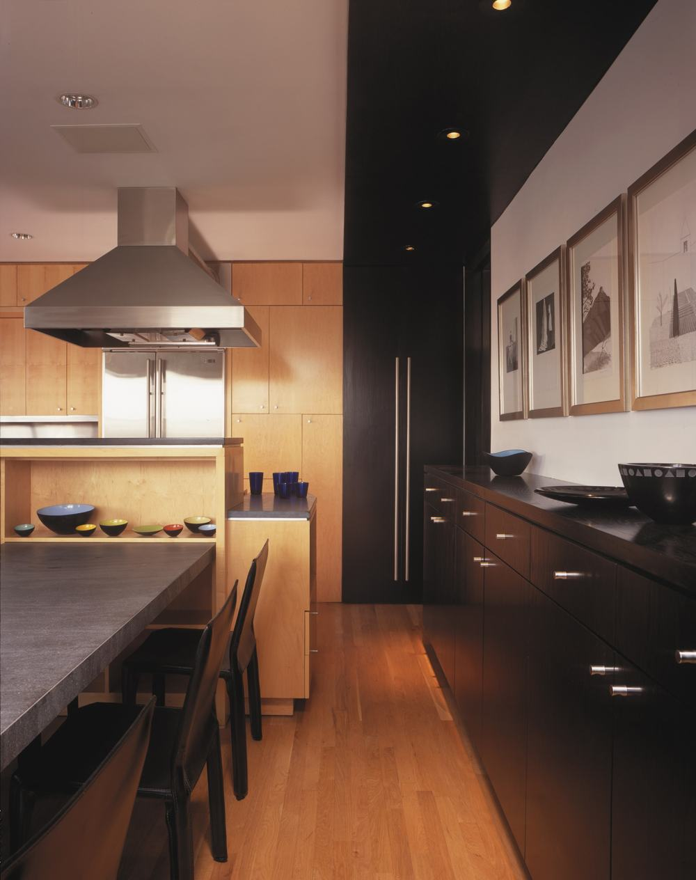 Modern Apartment Renovation | West Village Manhattan New York City | Kitchen Custom Built In Cabinets Wood Floor | RES4