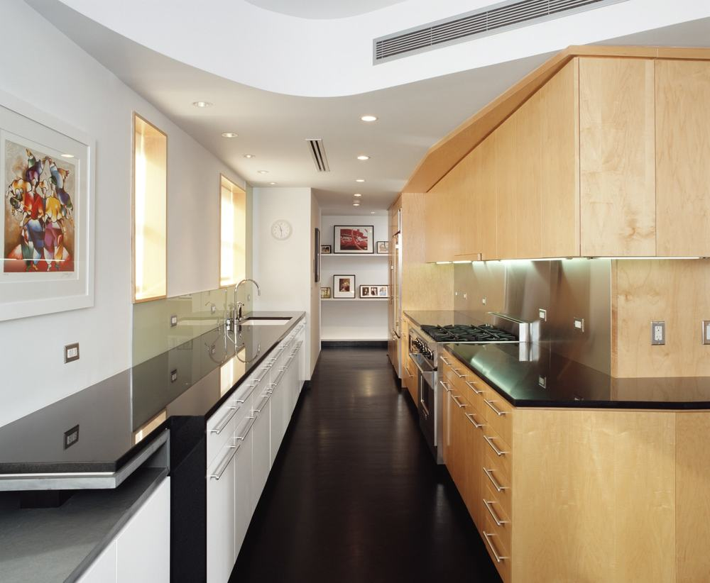 Modern Apartment Renovation | Brooklyn Heights New York City | Kitchen Custom Cabinet White Wood Black Countertop Curved Sculptural Ceiling | RES4