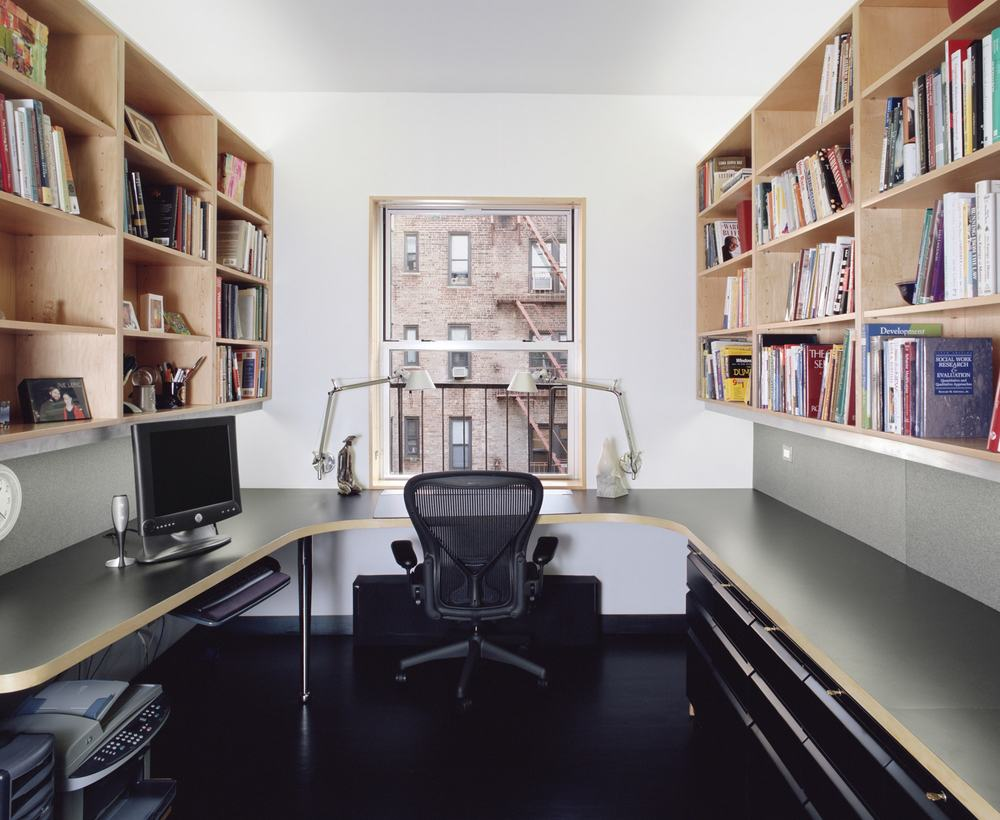 Modern Apartment Renovation | Brooklyn Heights New York City | Study Office Custom Built In Wraparound Deck Shelves | RES4