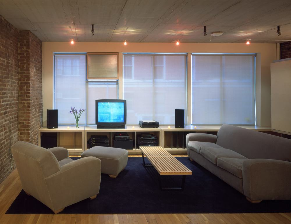 Modern Apartment Loft Renovation | Chelsea Manhattan New York City | Living Room Roller Shades Exposed Brick | RES4