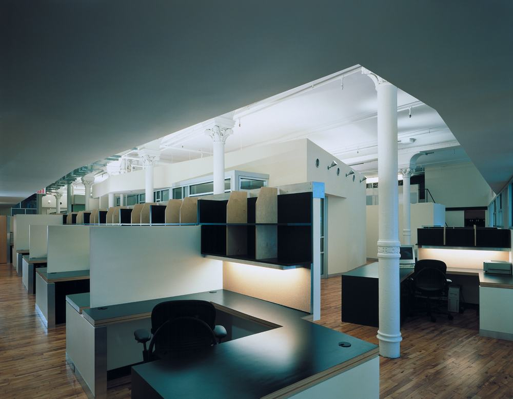 Equinox Offices Headquarters Modern Heath Fitness Center Renovation | Manhattan New York | Exposed Column Structure Open Office Custom Workstations Plywood | RES4