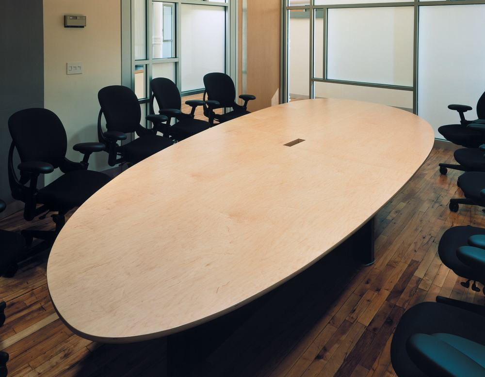 Equinox Offices Headquarters Modern Heath Fitness Center Renovation | Manhattan New York | Conference Room Elliptical Oval Wood Table | RES4