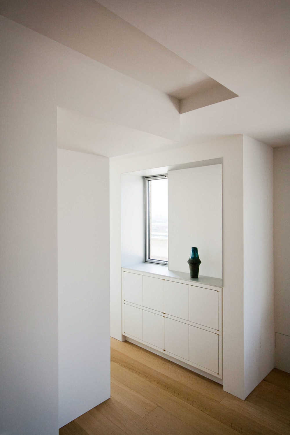 Modern Apartment Renovation | East End Ave New York City | Dining Room Built In White Cabinet Buffet | RES4
