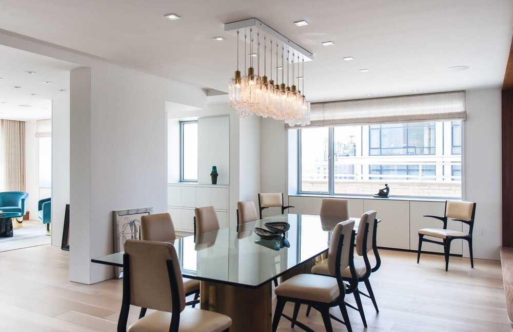 Modern Apartment Renovation | East End Ave New York City | Dining Room Wood Flooring Custom Millwork Abstract Art | RES4