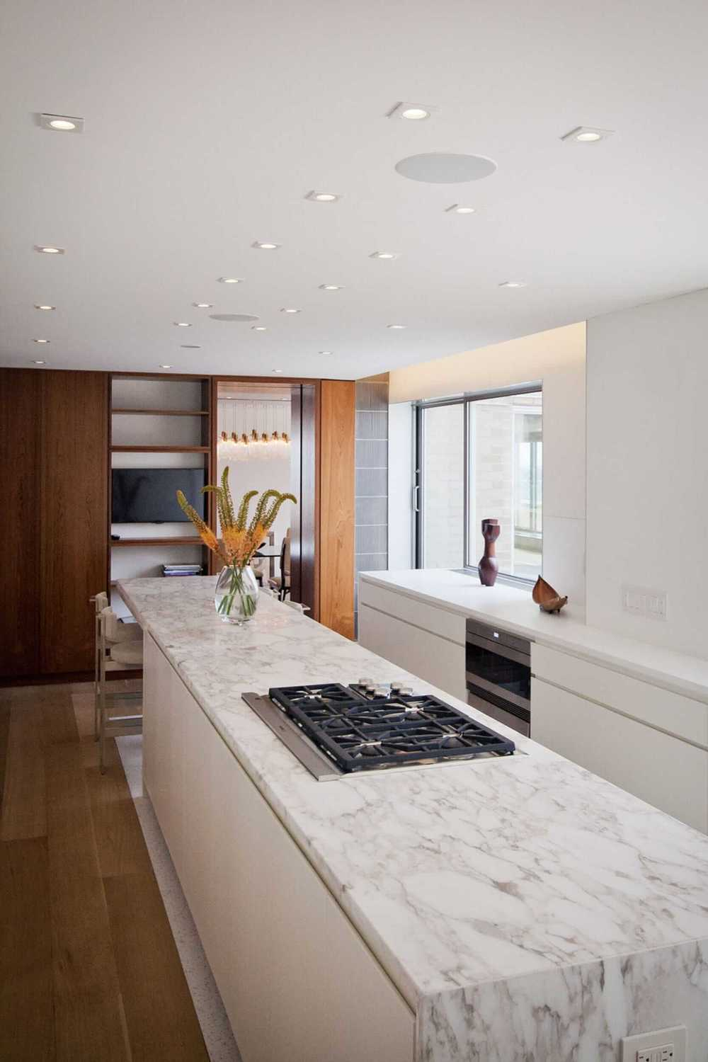 Modern Apartment Renovation | East End Ave New York City | Kitchen White Custom Cabinets Stone Countertop | RES4