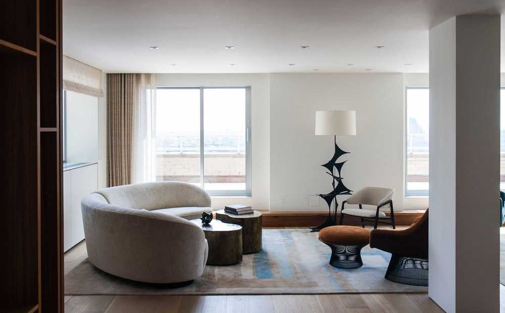 Modern Apartment Renovation | East End Ave New York City | Living Room Sliding Glass Doors Terrace Midcentury Furniture | RES4
