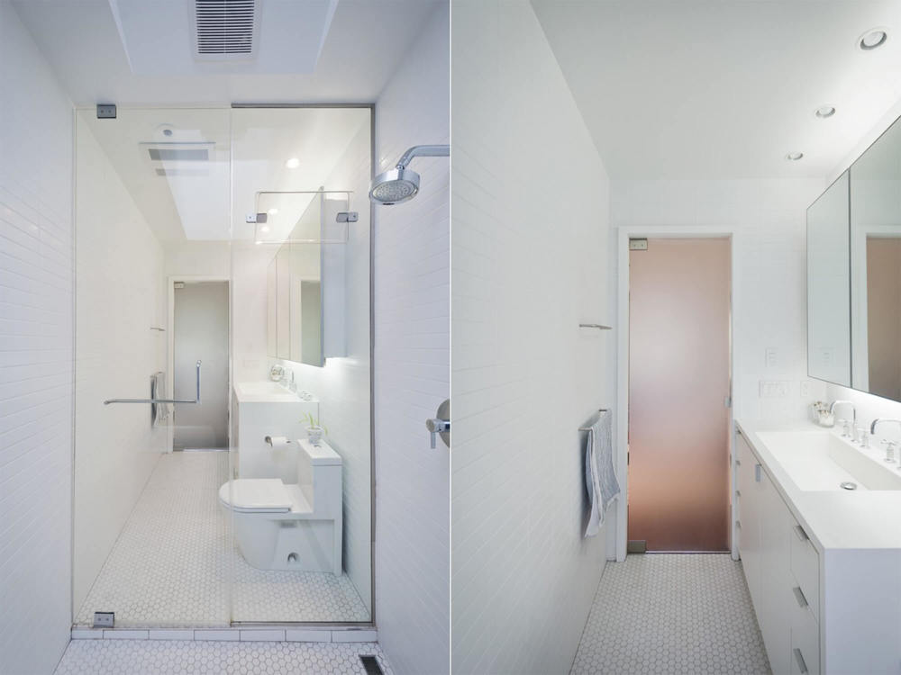 Bathroom   (left + right)   - Minimal and clean modern design with floor to ceiling tiles and translucent glass door.