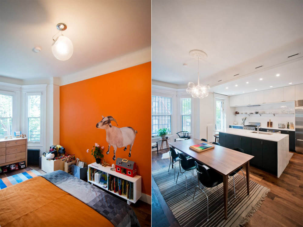 Kids Bedroom   (left)   - friendly goat complemented with orange paint.   Dining room   (right)   - dining room area adjacent to the kitchen with tons of natural light.
