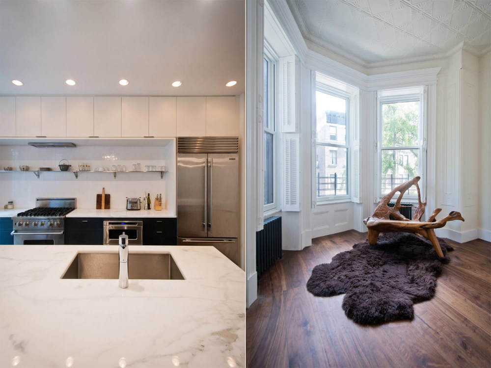 Kitchen   (left)   - marble countertop kitchen island.   Living room   (right)   - interior view of modern wood furniture in brownstone turret.