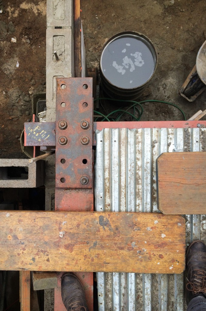 Detail of gussett plate securing steel I-beams together