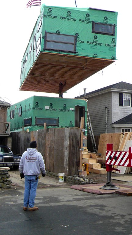 Elevation of second box being placed.