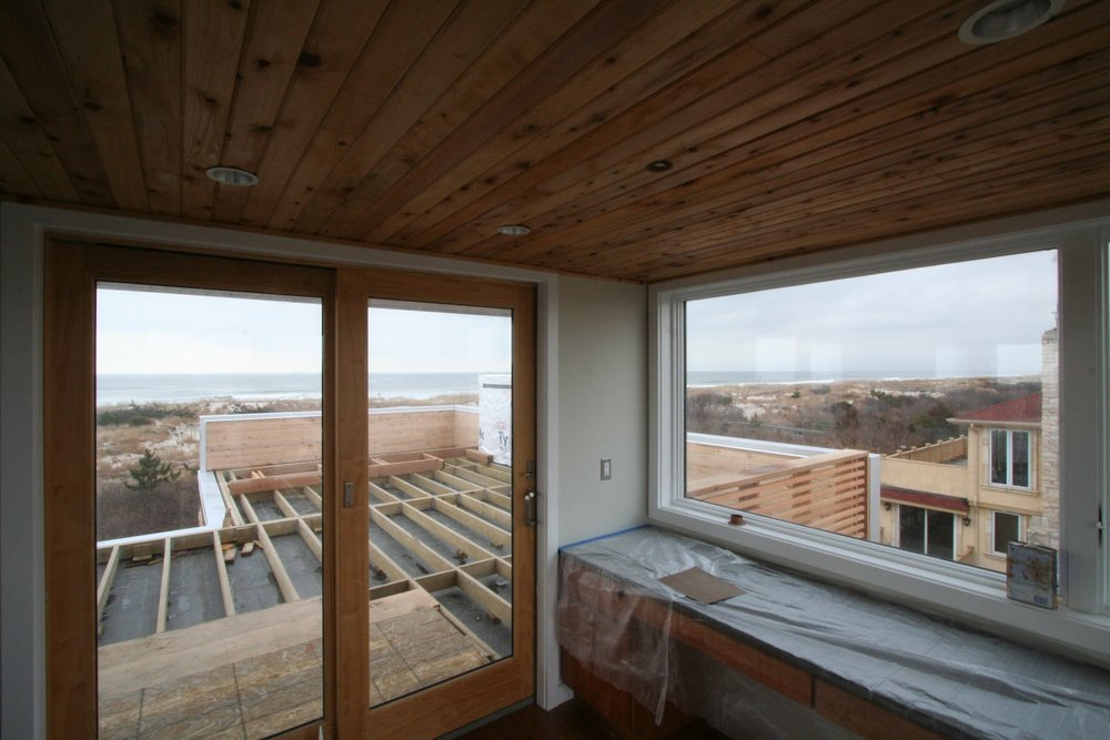 Interior view of outdoor deck construction