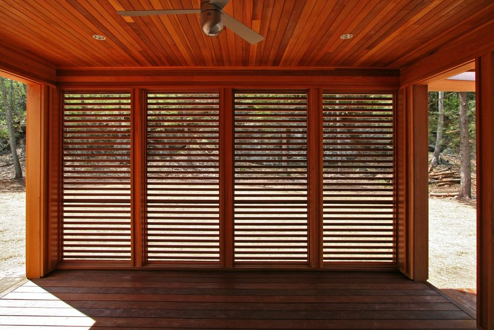 View of louvered outdoor deck