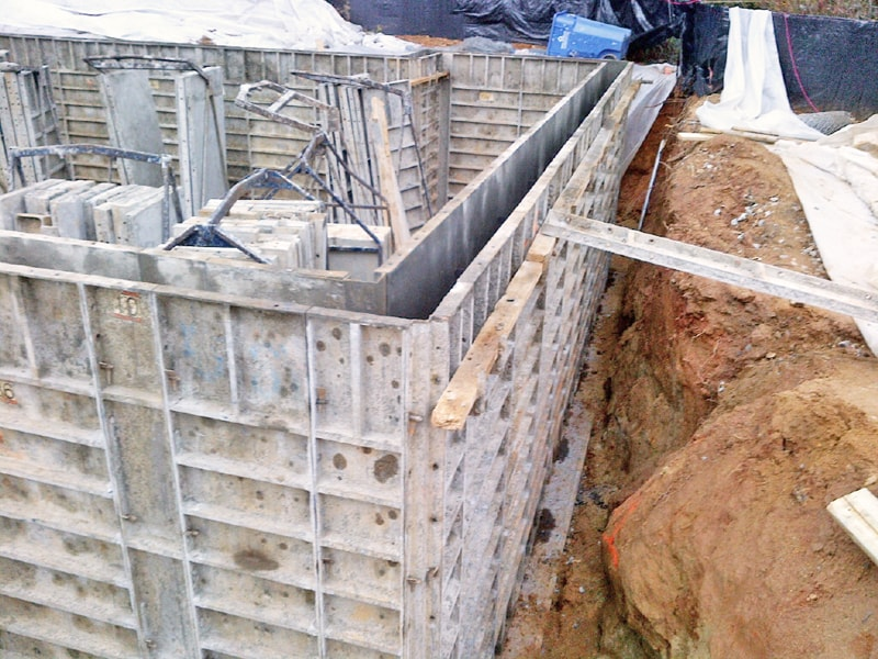 Foundation walls under construction