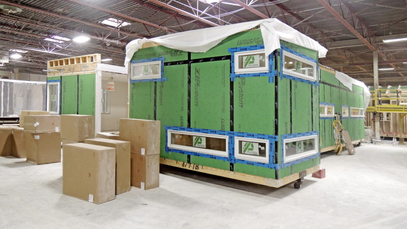 Module with stair volume; cabinets have arrived in boxes